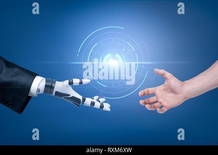 Robot Hand in Anzug und mit der Hand des Menschen erreichen, die für den Handshake mit sphärischen Hologramm Objekt im Hintergrund. - Stockfoto
