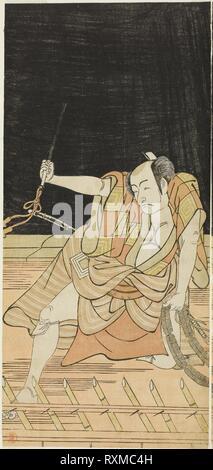Der Schauspieler Ichikawa Danjuro V als Issun Tokubei in Akt 8 Der Play Natsu Matsuri Naniwa Kagami (Spiegel von Osaka im Sommer Festival), an der Morita Theater aus dem 17. Tag des siebten Monats, 1779 durchgeführt. Katsukawa Shunko I; Japanisch, 1743-1812. Datum: 1774-1784. Abmessungen: 31,4 x 14,5 cm (12 3/8 x 5 11/16 in.). Farbe holzschnitt; links Blatt hosoban Diptychon (rechts: 1942.113). Herkunft: Japan. Museum: Das Chicago Art Institute. - Stockfoto
