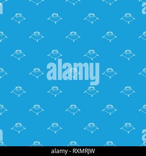 Krone auf einem Kissen Muster nahtlose Vektor blau - Stockfoto