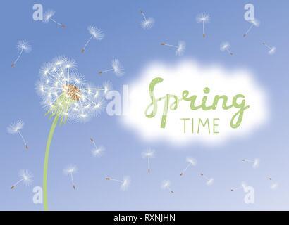 Inschrift Frühling. Vektor Löwenzahn mit fliegenden Samen an bewölkten Himmel - Stockfoto