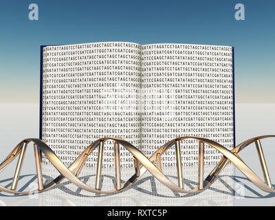 Buch mit genetischen Code und DNA-Strang - Stockfoto
