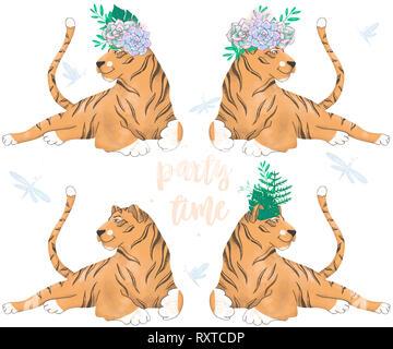 Tiger digital clip art Niedliche Tier Zeichnung - Stockfoto