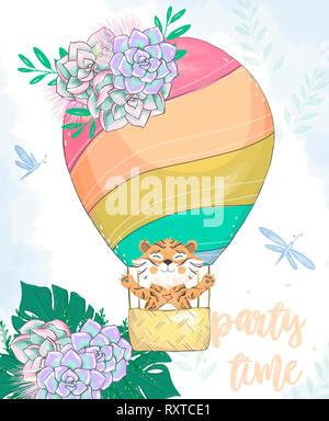 Aquarell Tiger im Warenkorb Ballon digital clip art Niedliche Tier und Blumen auf dem Kopf. Party Time Text. Gruß Feier Geburtstagskarte Lustig afrikanischen - Stockfoto