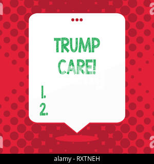 Handschrift text Trumpf. Konzeptionelle Foto bezieht sich auf den Austausch für Erschwingliche Pflege Act in den Vereinigten Staaten - Stockfoto