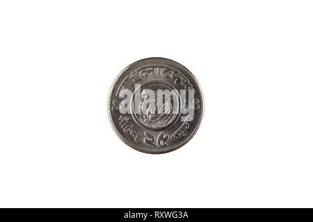 Eine Nahaufnahme Bild eines zehn Bangladeshi poisha Münze auf weißem Hintergrund - Stockfoto