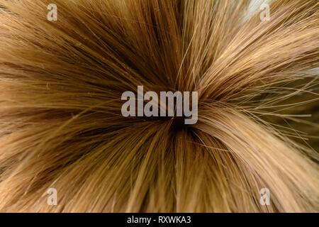 Die Haare von einem kleinen Mädchen, die in Form von Palmen gebunden, und schoss auf der Makro2019 - Stockfoto