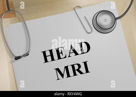 3D-Abbildung des Kopfes MRT-Titel auf ein medizinisches Dokument - Stockfoto
