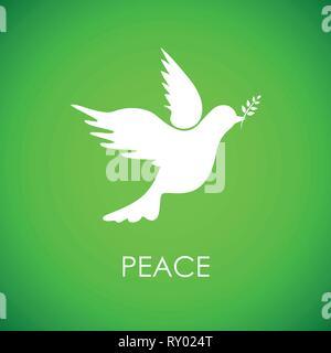 Weiße Friedenstaube auf grünem Hintergrund Vektor-illustration EPS 10. - Stockfoto