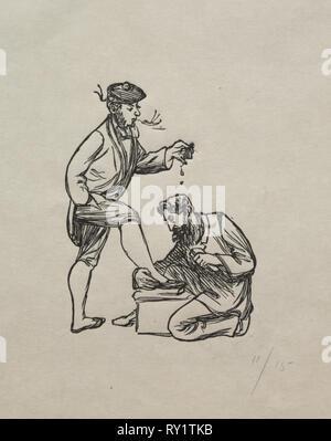 Inländische Philosophie, 1863. George Louis Palmella Busson Du Maurier (British, 1834-1896). Holzstich - Stockfoto