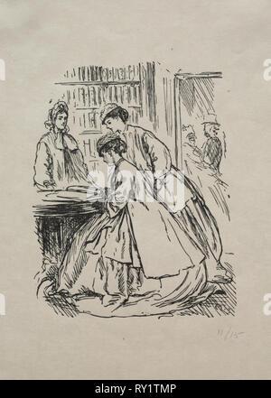 Viel Lärm um Nichts, 1866. George Louis Palmella Busson Du Maurier (British, 1834-1896). Holzstich - Stockfoto