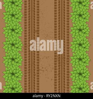 Braune Masse grunge Hintergrund mit Reifenspuren und grüne Büsche - Stockfoto