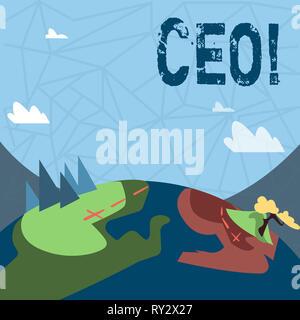 Schreiben Hinweis Ceo angezeigt. Business Konzept für Chief Executive Officer Leiter Boss Chairdemonstrating Chairanalysis Controller - Stockfoto