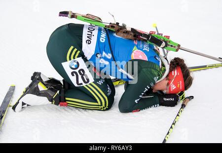 12. März 2019, Schweden, Östersund: Biathlon: Wm, single 15 km, Frauen. Laura Dahlmeier aus Deutschland beendet. Foto: Sven Hoppe/dpa - Stockfoto