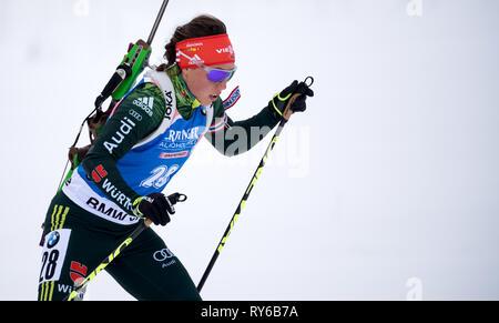 12. März 2019, Schweden, Östersund: Biathlon: Wm, single 15 km, Frauen. Laura Dahlmeier aus Deutschland in Aktion. Foto: Sven Hoppe/dpa - Stockfoto