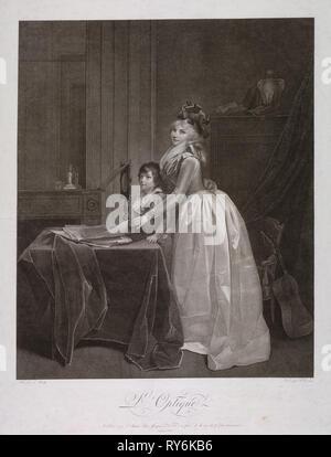 Den optischen Sucher, C. 1794. Fréderic Cazenave (Französisch), nach Louis Leopold Boilly (Französisch, 1761-1845). Ätzen und Gravieren; Blatt: 72 x 53,9 cm (28 3/8 x 21 1/4 in.); Plattenrand: 67,5 x 53,3 cm (26 9/16 x 21 in - Stockfoto