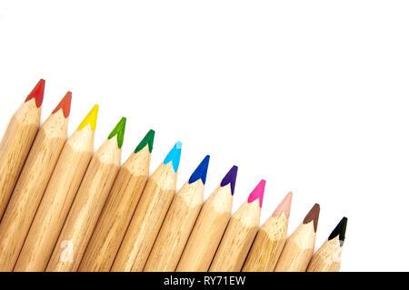 Buntstifte in einer Gruppe bereit zur Verwendung - Stockfoto
