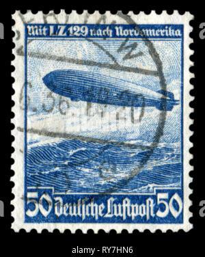 """Deutsche historische Stempel: mesatlantica Flüge L.Z.129 (Luftschiff """"Hindenburg"""") über den Atlantischen Ozean mit Stornierung, DR, Drittes Reich - Stockfoto"""