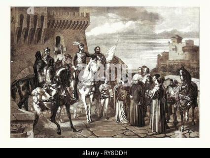 Bernabo Visconti, Herzog von Mailand, die die Nuntien von Papst Innozenz VI. In 1361, im Crystal Palace - Stockfoto
