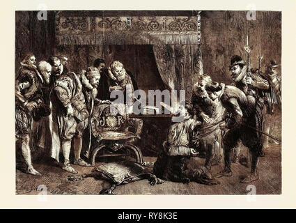 Die gunpowder Plot: Guy Fawkes wird verhört von James I und seinen Rat in des Königs Schlafgemach Whitehall - Stockfoto