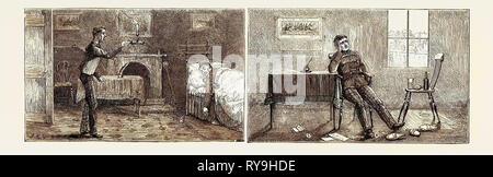 Passagen im Leben eines Subalternen: Bild links: Ärgerlich zu Bett gehen sehr müde dein Knecht betrunken im Bett, Bild rechts zu finden: In der Schuld und in der Liebe - Stockfoto