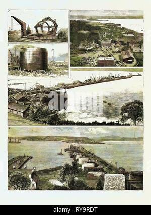 Forth Bridge Eisenbahn, Maschinen zum Bohren der Rohre aus Stahl, die die Brücke gebaut werden soll. 2. Blick von der North Shore, South suchen. 3a Caisson auf Launchway, bei niedrigem Wasser, 4. Einführung eines Senkkastens. 5. Blick vom südlichen Ufer, Blick nach Norden, Gravur 1884, die Forth Bridge ist ein Freischwinger Eisenbahnbrücke über den Firth von weiter im Osten von Schottland, Großbritannien, Großbritannien, England, Europa, Großbritannien, Großbritannien, europäischen - Stockfoto