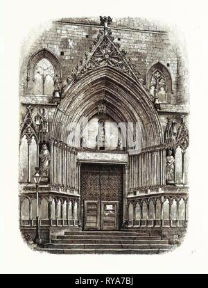 Eingang zur Kirche Santa Maria del Mar, Barcelona, Spanien - Stockfoto
