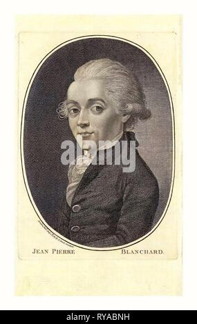 Jean Pierre Blanchard, London, veröffentlicht von I. Sewel, Cornhill, Juli 1st, 1785, Porträt von halber Baulänge französische Ballonfahrer Jean-Pierre Blanchard - Stockfoto