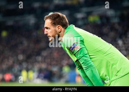Turin, Italien. 12. Mär 2019. Jan Oblak von Atletico Madrid in der Champions League: Juventus FC vs Atletico Madrid. Juvenwus gewann 3-0 in Turin, Italien. ,. Credit: Alberto Gandolfo/Alamy leben Nachrichten - Stockfoto