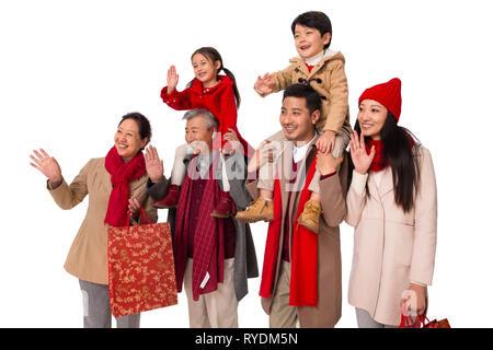 Happy Family Shopping im Neuen Jahr - Stockfoto