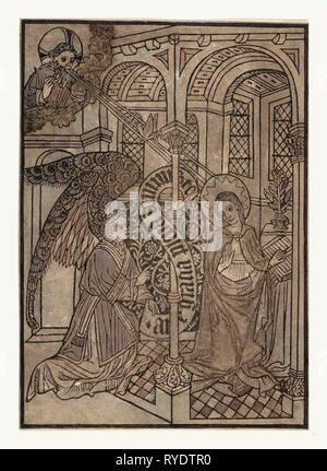 Die Verkündigung, Drucken, Maria von einem Engel besucht, Holzschnitt, Hand-Colored, zwischen 1450 und 1460 - Stockfoto
