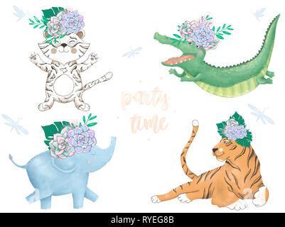Aquarell Tiger Croc Elephant Lion digitale Zoo clip art Niedliche Tier und Blumen.. Party Time Text. Gruß Feier Geburtstagskarte Lustig afrikanischen w - Stockfoto
