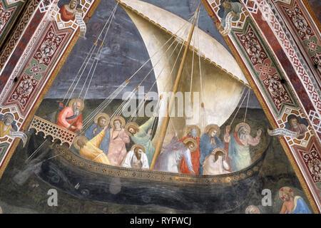 Reise des Heiligen Petrus, Fresko von Andrea de Buonaiuto, an der Decke des Cappellone degli Spagnoli in der Kirche Santa Maria Novella in Florenz - Stockfoto