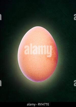 Hintergrundbeleuchtung braune Eier schweben in der Luft und auf dem Schwarzen Brett Hintergrund mit Kopie Raum isoliert. - Stockfoto