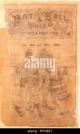 Bat mit Kugel und Rad wöchentlich Sport und Zeitvertreib Zeitung vordere Abdeckung von 1898 - Stockfoto