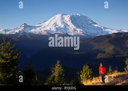 WA 15931-00 ... WASHINGTON - Wanderer auf der Straße nach Suntop Aussichtspunkt in den Berg Baker-Snoqualmie National Forest. - Stockfoto