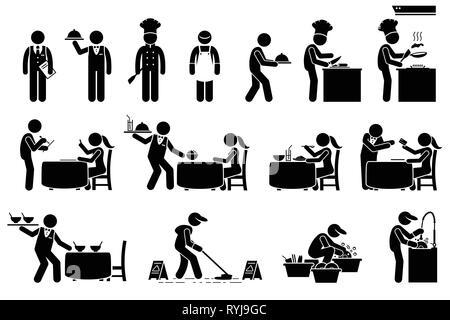 Symbole für Arbeiter, Angestellte und Kunden im Restaurant. Strichmännchen sind Manager, Koch, Supervisor, Putzfrau, Kellner, und Client. Der Koch ist Vorbereitung - Stockfoto