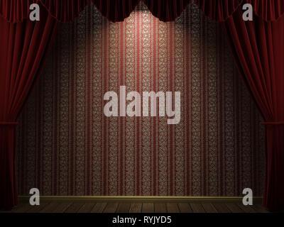3D-Illustration grafik hintergrund einer Tapete und roten Vorhängen mit Licht Schatten zwischen - Stockfoto