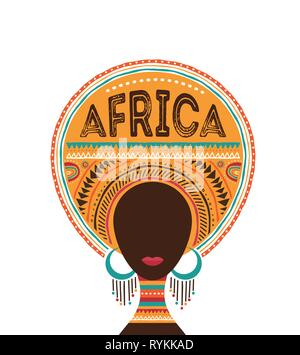 Afrika Tag, Vector Illustration mit afrikanischen Frau, Stamm Ornamenten und Mustern. - Stockfoto
