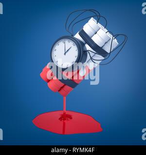 3D-Rendering von einer weißen Dynamite Bundle mit einer Zeitbombe, die in roter Farbe, die immer noch nach unten tropft und bildet eine Pfütze unter getaucht wurde. Ca - Stockfoto