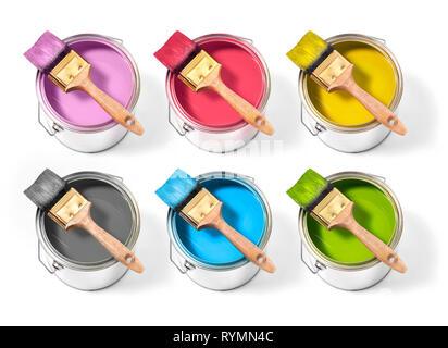 Dosen mit verschiedenen Dekorateur malt mit Bürste oben auf einem weißen Hintergrund. 6 Farben - Stockfoto