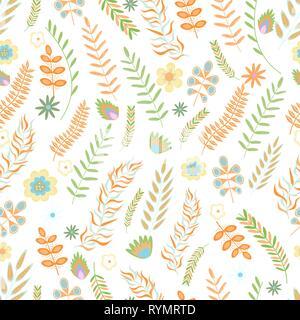 Sommer Blumen nahtlose Muster. Blumen und Zweige in Pastellfarben. Vector Illustration. - Stockfoto