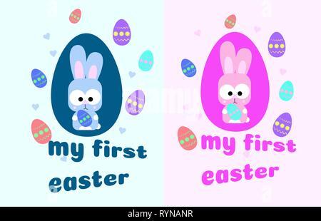 Meine erste Ostern. Karte mit einem niedlichen kleinen Hasen. Bunny und bunte Eier. Rosa und Blau für Jungen und Mädchen. Vector Illustration Ostern Jagd. Zu verzieren - Stockfoto