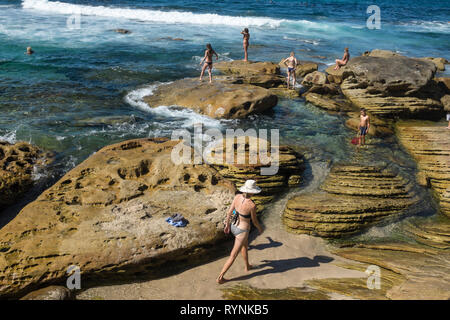 Bronte rockpool, Sydney, NSW, Australien - Stockfoto
