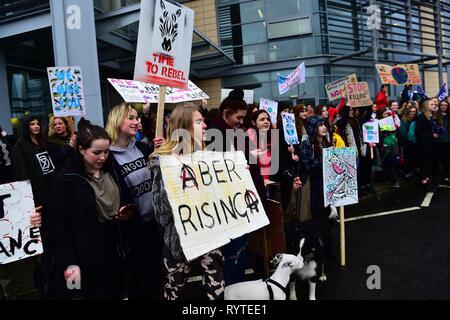 Aberystwyth, Ceredigion Wales UK Freitag, 15. März 2019. Schülerinnen und Schüler der örtlichen Schulen die Teilnahme an der zweiten UK-wide Schule Streik 4 Klima', protestieren außerhalb des Büros des lokalen Rates in Aberystwyth Wales Photo Credit: Keith Morris/Alamy leben Nachrichten - Stockfoto