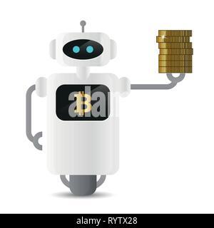Niedliche Roboter holding Bitcoin goldenen Münzen in der hand Vektor-illustration EPS 10. - Stockfoto