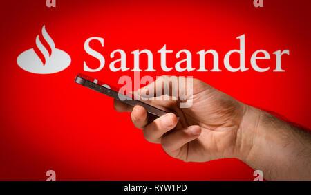Santander mobile Online Banking - Stockfoto