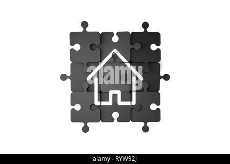 Blick von oben auf die Startseite, Immobilien Symbol auf Puzzle Stücke, auf weißem Hintergrund. Stockfoto