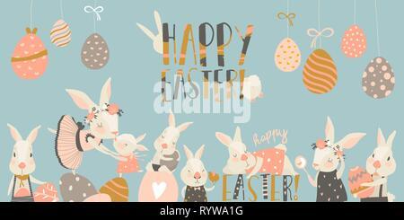 Süße Kaninchen und Hasen mit Ostereier - Stockfoto