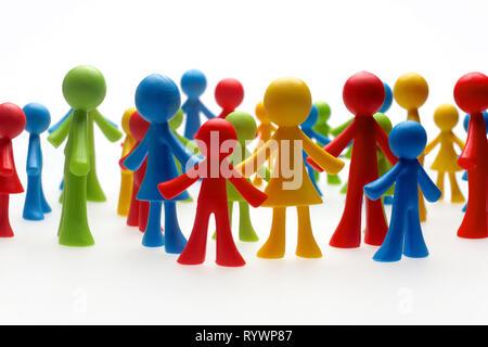 Bunt bemalte Gruppe von Personen - Stockfoto