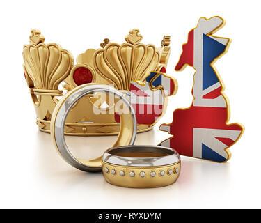 Königliche Hochzeit Konzept mit einer Krone, Trauringe und britischen Karte und Flagge. 3D-Darstellung. - Stockfoto
